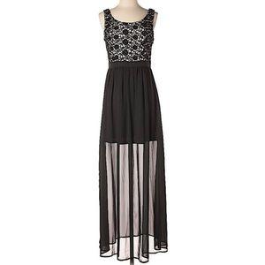 LC Lauren Conrad Nude & Black Casual Maxi Dress